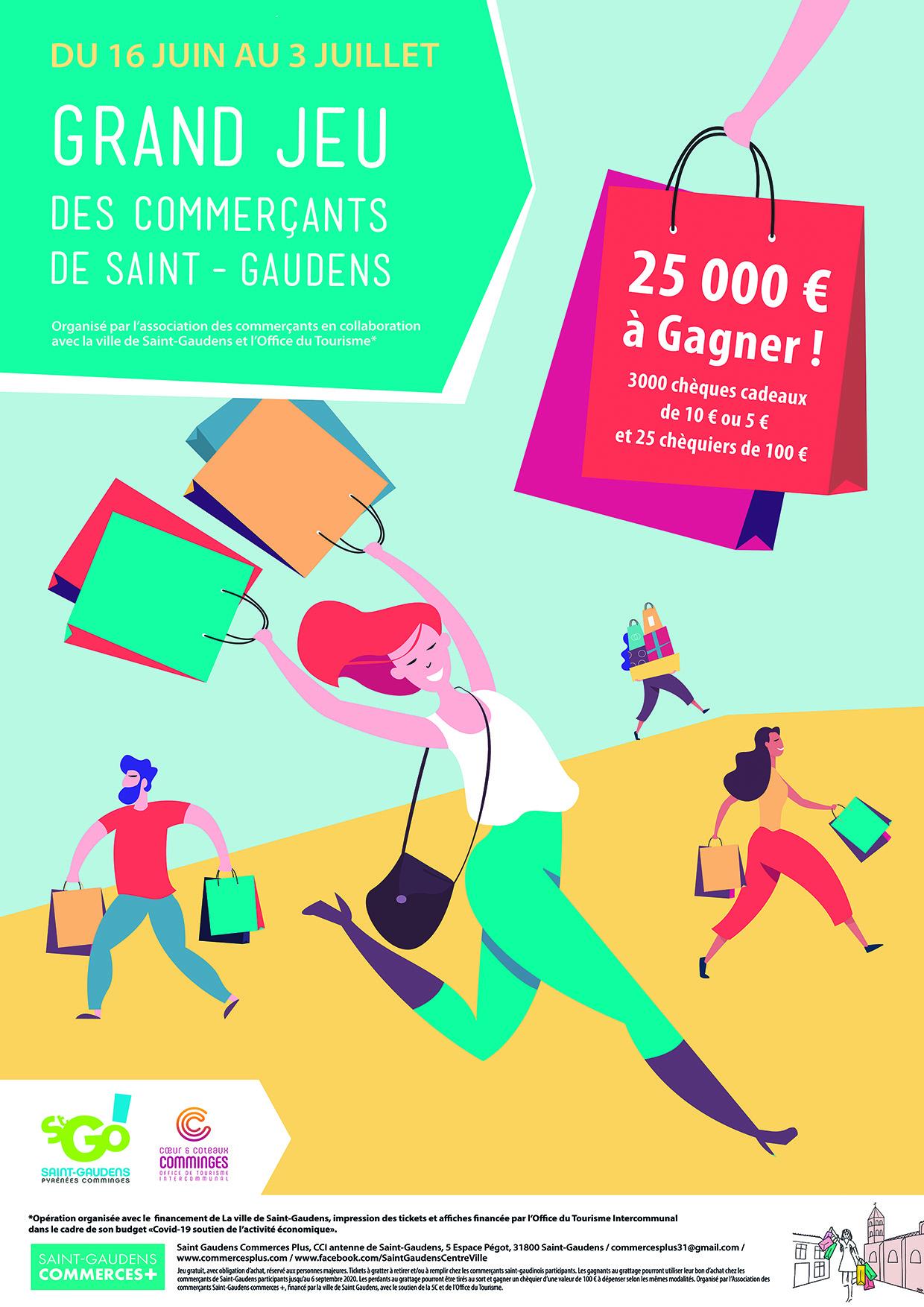 Du 16 au 3 juillet 2020, GRAND JEU des commerçants de Saint-Gaudens. 25000 € à gagner ! 3000 chèques cadeaux de 10€ ou 5€ et 25 chèques de 100€