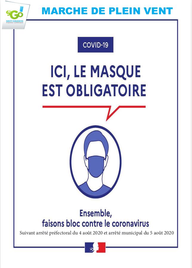 MARCHE DE PLEIN VENT : masque obligatoire, COVID19 , Suivant arrêté préfectoral du 4août 2020 et arrêté municipal du 5 août 2020, ensemble faisont bloc contre le coronavirus