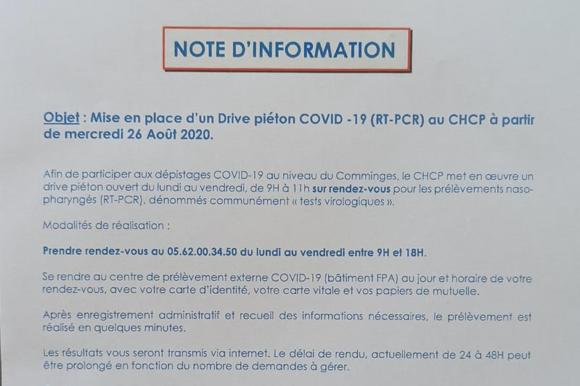 Drive Piéton COVID-19 au CHCP