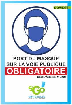 Affiche port du masque obligatoire sur la voie publique à partir de 11 ans