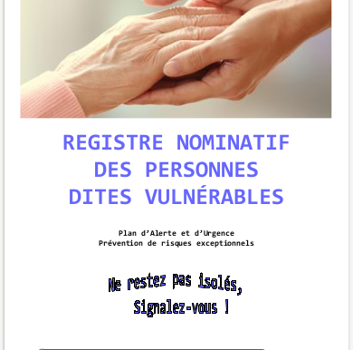 Registre nominatif des personnes vulnérables