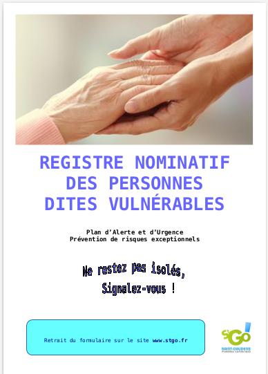 Affiche Registre Nominatif des personnes dites vulnérables, plan d'alerte et d'urgence, Prévention de risques exceptionnels, retrait du formulaire sur le site www.stgo.fr