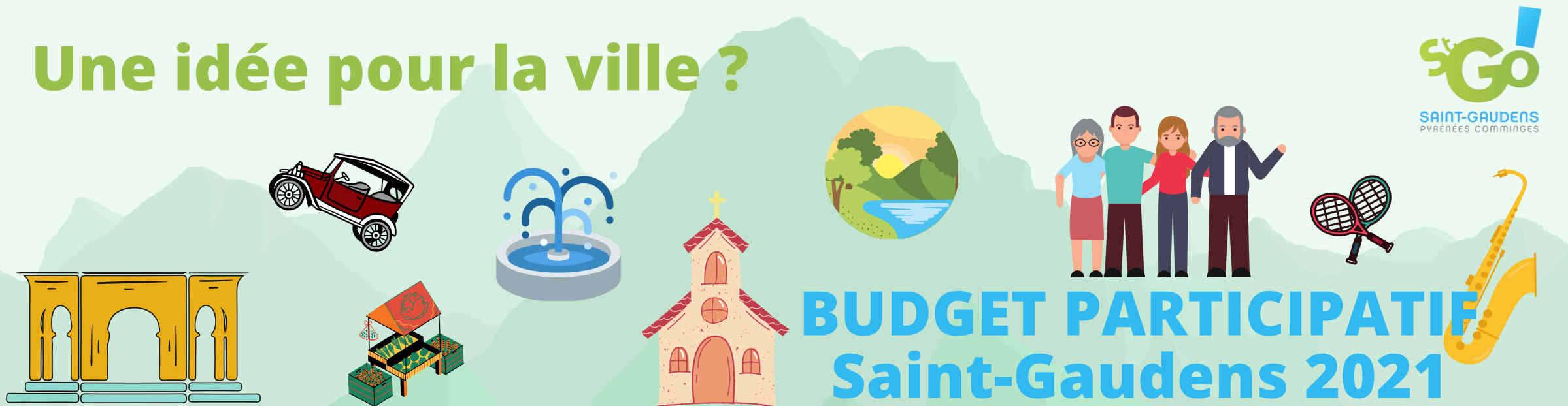 Visuel Budget participatif : logo mairie et quelques dessins